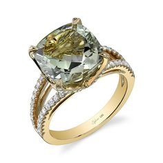 Glamorous Cushion Cut Green Amethyst and Diamond Ring - This dazzling yellow gold semi-precious diamond fashion ring features a 5.00 carat cushion cut center green amethyst with 0.52 carats of round diamonds in a feminine split shank.