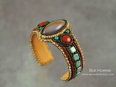 Norena and Red Jasper Bead Embroidered Cuff Bracelet by sedonaskye (Sue Horine)