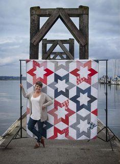Star Quilt Blocks, Star Quilts, American Flag Quilt, Modern Quilt Patterns, Holiday Quilt Patterns, Modern Quilting, Blanket Patterns, Loom Patterns, Star Patterns