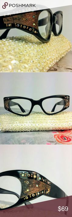 c2fd2f66165e1 True Vintage 50s cat eye SWANK glasses sunglasses Another beautiful example  of French designer Swank signature