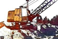 Экскаватор ЭО-4111Г с драглайном. Фотографии сделаны в г. Электростали Московской области в 1992 году.