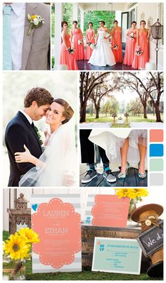 Coral, blue, and mint green - One Sweet Day inspiration board (cute!)