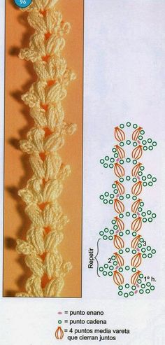 Crochet y dos agujas: 3 Bellísimas puntillas Crochet Border Patterns, Crochet Bookmark Pattern, Crochet Bookmarks, Crochet Squares, Crochet Motif, Crochet Designs, Crochet Doilies, Crochet Flowers, Crochet Lace