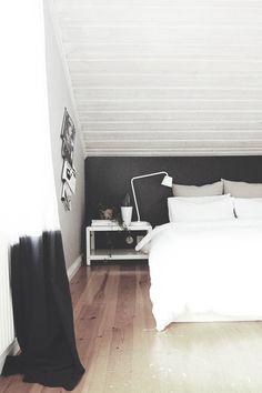 Bedroom, black and white, wooden floor, scandinavian