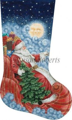 "Moonlight Santa Artist: Liz Goodrick-Dillon Item Number: TTAXS421 Mesh Size: 13 Mesh / 18 Mesh Measurement: 12 1/4"" x 20 1/4"""