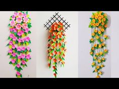 wallmate/paper wallmate/paper wall hangings/wall hanging craft ideas new. Paper Flowers Craft, How To Make Paper Flowers, Paper Flower Wall, Flower Crafts, Diy Flowers, Paper Wall Hanging, Wall Hanging Crafts, Hanging Flower Wall, Wall Hangings