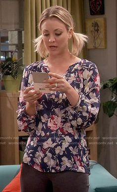 Penny's blue and pink floral blouse on The Big Bang Theory.  Outfit Details: https://wornontv.net/56478/ #TheBigBangTheory