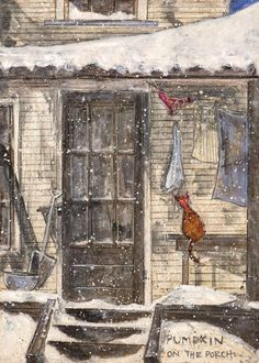 'Pumpkin on the Porch' by Sam Toft Staffordshire, a landlocked county in the West Midlands of England) Illustrations, Illustration Art, Art Carte, English Artists, Arte Popular, Art Abstrait, Naive Art, Whimsical Art, Cat Art