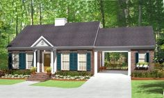 ranch style home with breezeway to garage | Visit globalhouseplans.com