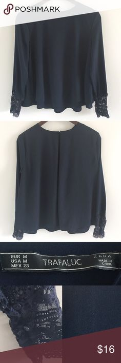 """🆕 ZARA Trafaluc Blouse w Buttoned Lace Cuffs Navy blouse with lace & button detail at cuff (pictured).  Stats (laying flat): Length: approx 22.5"""" 
