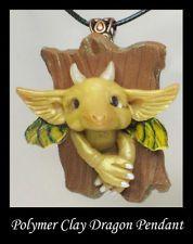 Dragon Pendant Fantasy Magic Handmade OOAK Polymer Clay Wearable Art