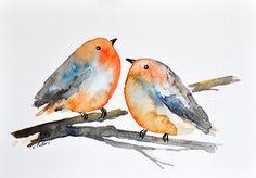 ORIGINAL Watercolor painting Two Romantic Robins by ArtCornerShop, $36.00
