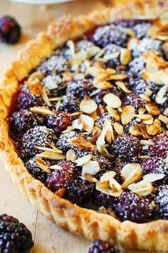 Blackberry Tart with Toasted Almonds. Blackberry tart topped with toasted almonds – this French style dessert is made completely from scratch, in a homemade tart crust! Summer Dessert Recipes, Just Desserts, Delicious Desserts, Yummy Food, Dessert Ideas, Desserts With Berries, Yummy Yummy, Delish, Sweet Pie