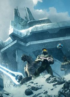 """cyberclays: """" Halo: The FInal Battle - by Leonid Kozienko """"Arbiter, Chief, Johnson and Guilty Spark atop the Forerunner ziggurat at the end of Halo Illustration from Halo Mythos book. Halo 3, Halo Game, Video Game Art, Video Games, Halo Armor, Halo Spartan, Halo Master Chief, Halo Series, Halo Collection"""