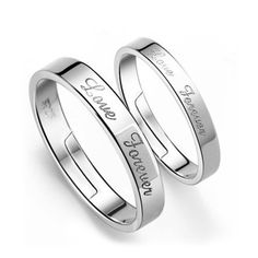 Simple Classic Love forever English alphabet lovers ring can adjust 925 sterling silver rings for women jewelry valentine gift