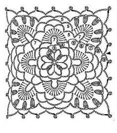 Crocheted motif no. Motifs Granny Square, Granny Square Crochet Pattern, Crochet Blocks, Crochet Diagram, Crochet Chart, Crochet Squares, Knit Crochet, Granny Squares, Grannies Crochet