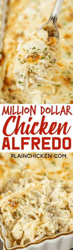 Million Dollar Chicken Alfredo - seriously delicious! Chicken, pasta, alfredo sauce and 4 cheeses! The BEST chicken alfredo EVER! Can make ahead and. Sauce Alfredo, Chicken Alfredo, Pasta Alfredo, Chicken Pasta, Chicken Lasagna, Chicken Bacon, Chicken Casserole, Chicken Salad, Pasta Salad