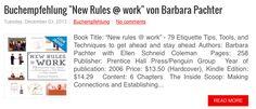"""Buchrezension, book review """"New Rules @ work"""" by Barbara Pachter, mehr dazu: http://www.suedtirolcareer.com/2013/12/buchempfehlung-new-rules-work-von.html"""