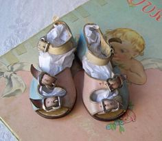 Vintage Baby Shoes Pink Blue Yellow Leather by CynthiasAttic