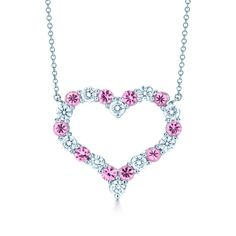 Heartfelt. Tiffany Hearts® pendant in platinum with pink sapphires and diamonds. #TiffanyPinterest