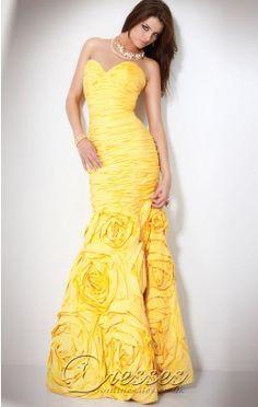 Cheap Mermaid Floor-length Sweetheart Yellow Taffeta Dress