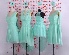 Einfache Mint Short chiffon Brautjungfer Kleider von Kathydress