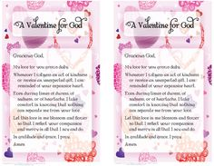 a valentine for god prayer card - Saint Valentine Prayer