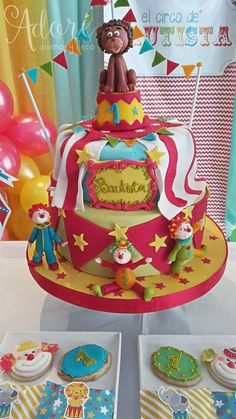 Fun clown cake at a circus birthday party! See more party planning ideas at CatchMyParty.com!