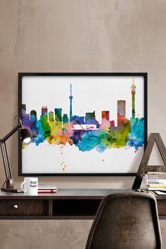 Detroit skyline Detroit watercolor Detroit poster by iPrintPoster Cityscape Art, Skyline Art, Tokyo Skyline, Shanghai Skyline, Istanbul Skyline, Basilica San Pedro, City Poster, Poster Wall, Print Poster