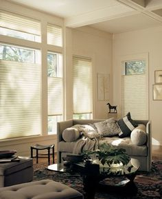 Complementing iconic style and design with the icon of energy efficiency, Duette® honeycomb shades.  ♦ Hunter Douglas window treatments #LivingRoom #NeutralColors #HomeDecor