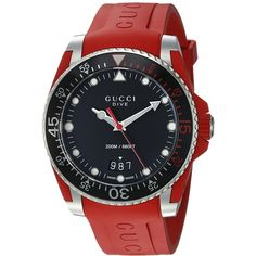 Gucci Diver - YA136309 (Red) Watches ($1,090) ❤ liked on Polyvore featuring men's fashion, men's jewelry, men's watches, mens diamond bezel watches, mens water resistant watches, matte black mens watches, mens analog watches and stainless steel mens watches