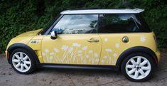 Daisy Vinyl Silhouette Decal Stickers for a MIni Cooper by Tonyabug Sticker Momma Yellow Mini Cooper, Mini Driver, Cooper Car, Jobs In Art, Mini Copper, Mini Countryman, Mini Things, First Car, Love Car