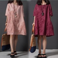 Vestido 2017 Summer Chinese Style Women Dress O Neck Loose Plus Size Embroidered Linen Dress Elegant Short Sleeve Casual Dresses #CLICK! #clothing, #shoes, #jewelry, #women, #men
