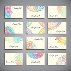 Set of business cards with colorful mandalas Free Vector