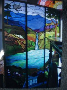 1920's large Stained Glass landscape.