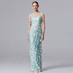 1 CUSTOM MADE Coniefox Brand Handwork Flower Blue Evening Prom Long Dresses 31355 - Coniefox