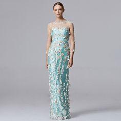 1 CUSTOM MADE Coniefox Brand Handwork Flower Blue Evening Prom Long Dresses 31355 - Coniefox