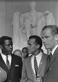 """Sidney Poitier, Harry Belafonte and Charlton Heston at the 1963  Civil Rights March on Washington, D.C., where Dr. Martin Luther King, Jr. delivered his famous """"I Have A Dream"""" speech."""