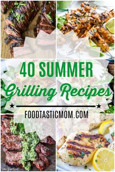 A comprehensive list with links for 40 Summer Grilling Recipes including beef, pork, chicken, seafood, vegetables and dessert. Healthy Grilling Recipes, Barbecue Recipes, Meat Recipes, Seafood Recipes, Cooking Recipes, Grill Recipes, Vegetarian Grilling, Summer Barbeque, Bbq