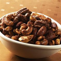 This spiced nut mix gets it spiciness from cinnamon and allspice.