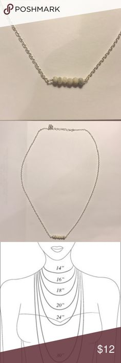 Dainty Howlite Stone Necklace Minimalist genuine Howlite stone necklace. Howlite enhances intuition and promotes calmness. Kris Nations Jewelry Necklaces