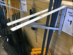 If Double-Arm Utility and ordinary Mop and Broom Hooks are just not massive enough, try this use of bolt-on Shelf Support as merchandising fixture in Lawn and Garden. A bit of overkill in my mind, … Mops And Brooms, Shelf Supports, Lawn And Garden, Hooks, Arm, Leaves, Create, Gardening, Arms