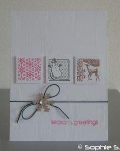 Un autre défi sur Scrapdéco était de faire figurer des carrés sur notre carte. J'ai un tas de tampons parfaits pour ça ! Tampons, Holiday Cards, Gift Wrapping, Seasons, Frame, Gifts, Decor, Greeting Cards, Other
