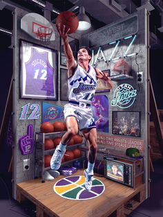 John Stockton Birthday graphic made for the NBA. Basketball Posters, Basketball Funny, Basketball Art, Sports Graphic Design, Graphic Design Posters, Happy Birthday John, John Stockton, Pos Design, Retail Interior Design