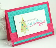 I like these non-traditional colors with the fun vibe of this Christmas card.