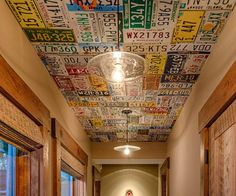 License plates as ceiling (perfect reuse, recycle idea) Game room, basement License Plate Crafts, License Plate Art, License Plate Ideas, Old License Plates, Man Cave Garage, Diy Décoration, Vermont, Game Room, Home Projects