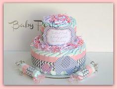 Baby of Mine. Diaper Cake , Pink and Grey Baby Shower , Chevron Baby Shower via Etsy