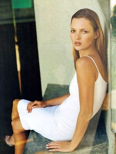 Kate Moss by Patrick Demarchelier for Harper's Bazaar, 1997 #fashion #style #beauty #whitedress | @andwhatelse