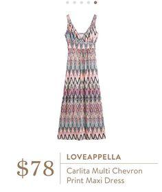 Stylist: Love the colors and empire waist of this dress! Loveappella Carlita Multi Chevron Print Maxi Dress
