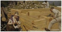 Portrait - Painting - People building a house in Finland 1903 Chur, Horse Hay, Horses, Classic Paintings, Painting People, Figurative Art, Traditional Art, Beautiful World, Les Oeuvres